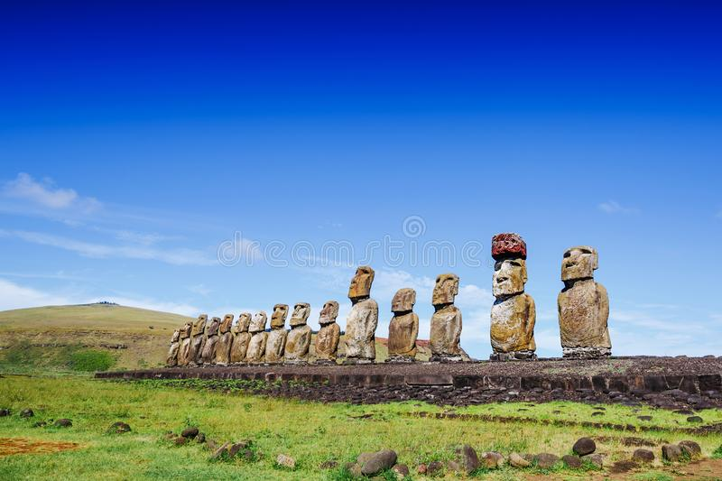 Moais statues on Ahu Tongariki - the largest ahu on Easter Island. Chile stock images