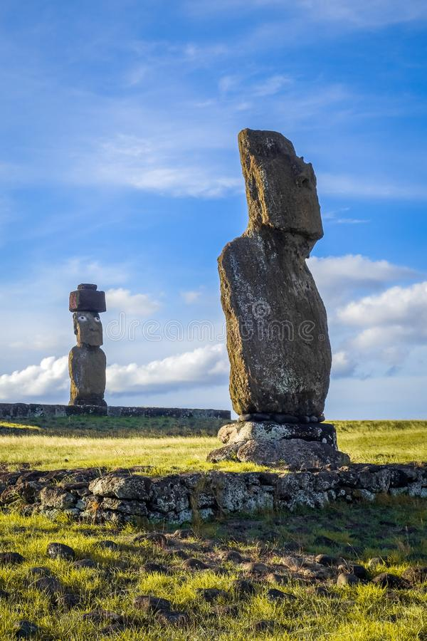 Moais statues, ahu vai ure, easter island. Moais statues, vai ure, easter island, Chile royalty free stock photos