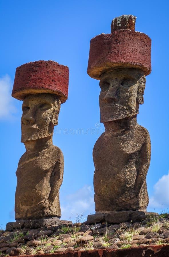 Moais statues site ahu Nao Nao on anakena beach, easter island. Chile royalty free stock photo