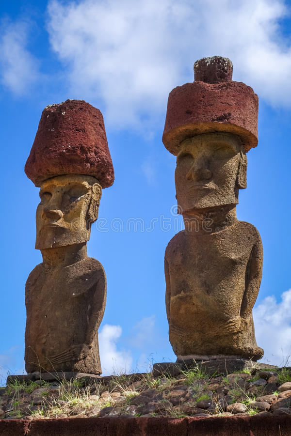 Moais statues site ahu Nao Nao on anakena beach, easter island. Chile royalty free stock photos