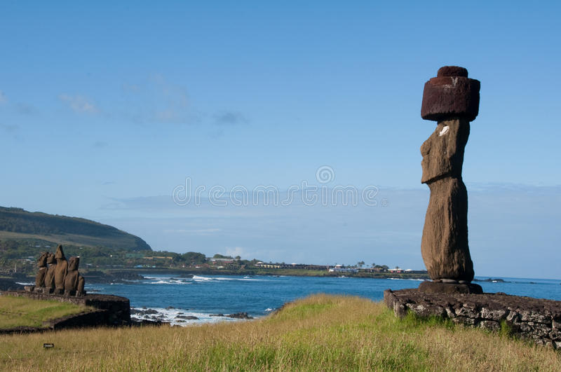 Moais in Tahai. Easter island (Chile stock image