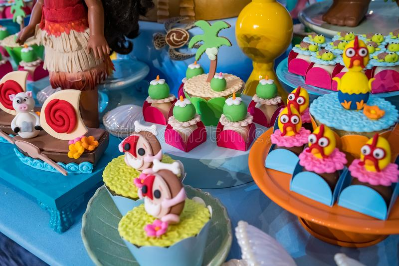 Moana S Ornament Party With Cute Candies And Characters Editorial Photo Image Of Pretty Moanas 166310866