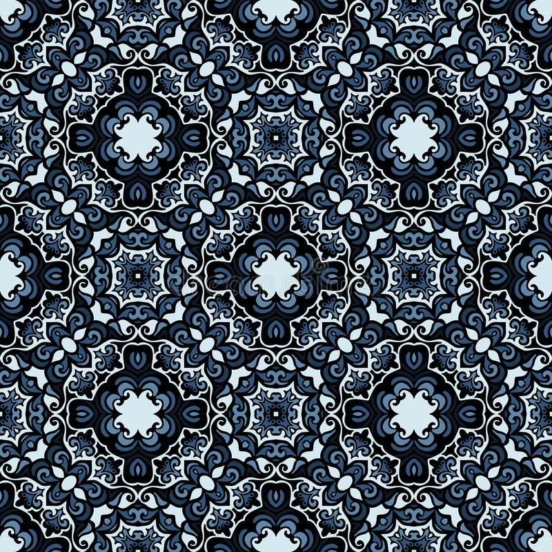 Moasic tiled oriental vector seamless pattern royalty free illustration