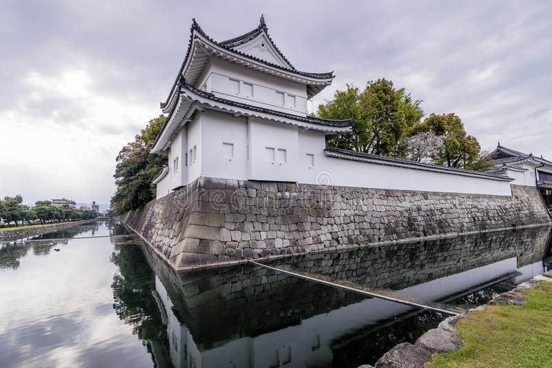 The moat around the Nijo Castle and its reflection on the water, Kyoto, Japan royalty free stock photography
