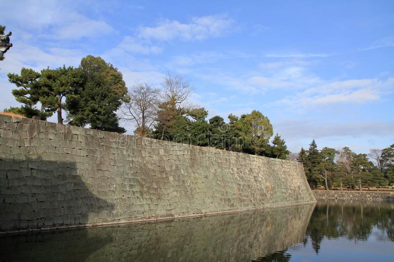 Moat and castle wall of Nijo castle stock photo