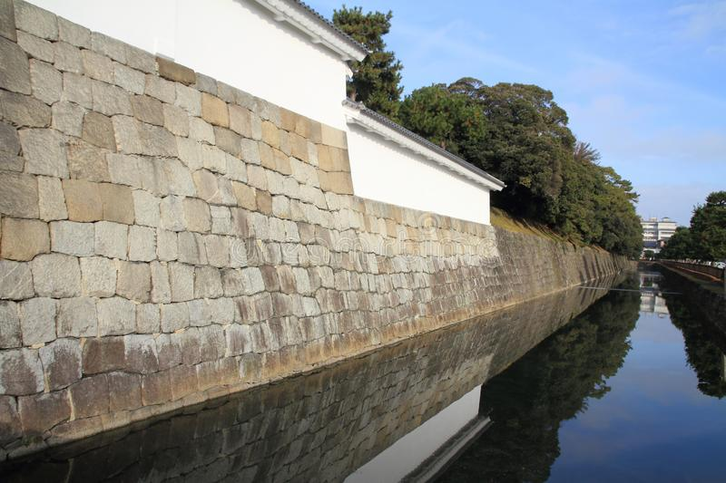 Moat and castle wall of Nijo castle. In Kyoto, Japan royalty free stock photography