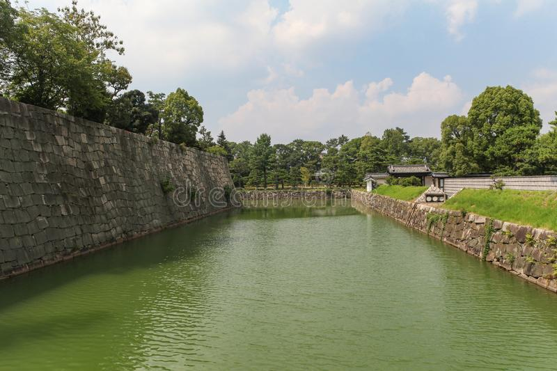 Moat and inner walls of the Nijo Castle in Kyoto royalty free stock photos