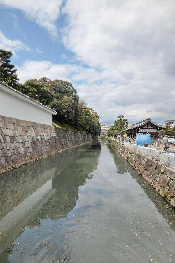 Moat of Nijo Castle of Kyoto in Japan stock photos
