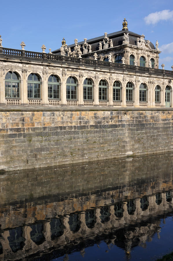 Moat at zwinger, dresden. External fortification wall and moat at a famous palace and museum in dresden, the baroque building has been rebuilt after second world royalty free stock photos