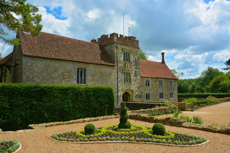 Moated Manor House. Ightham Mote in Kent UK, is an amazing 14th century medieval moated manor house located 6 miles east of Sevenoaks. The house is now run by stock photography