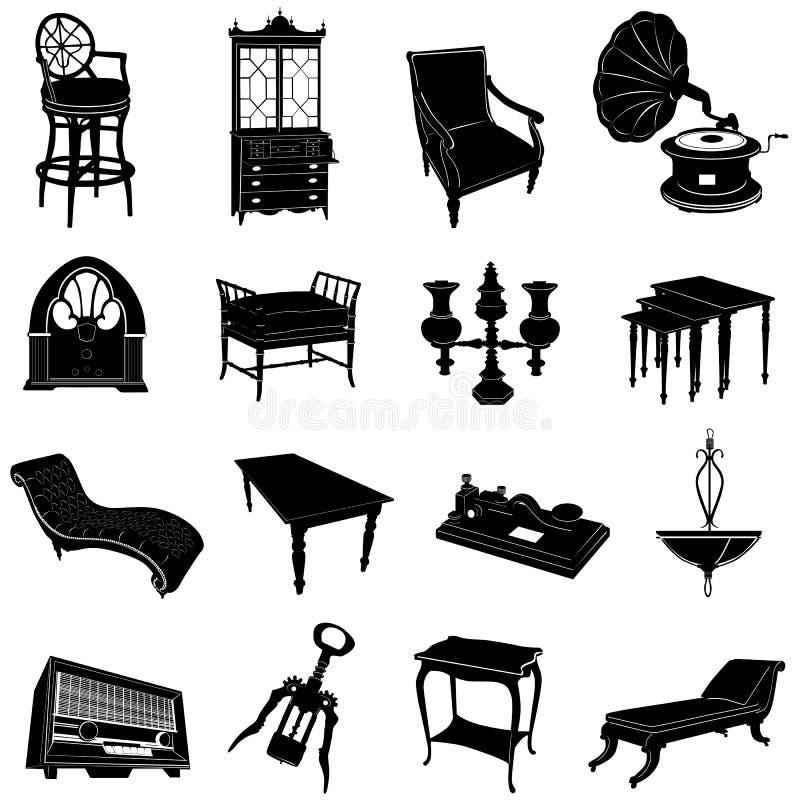Mobília antiga e objetos ilustração stock