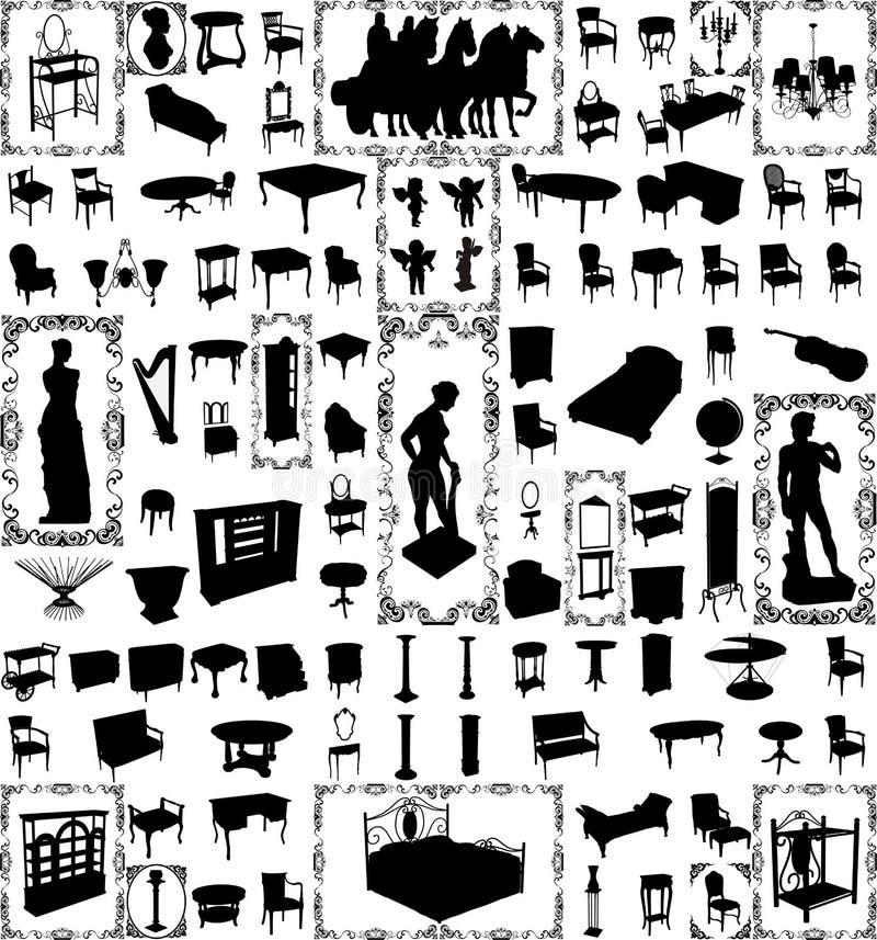 Mobília antiga e objetos cem Lar do vetor