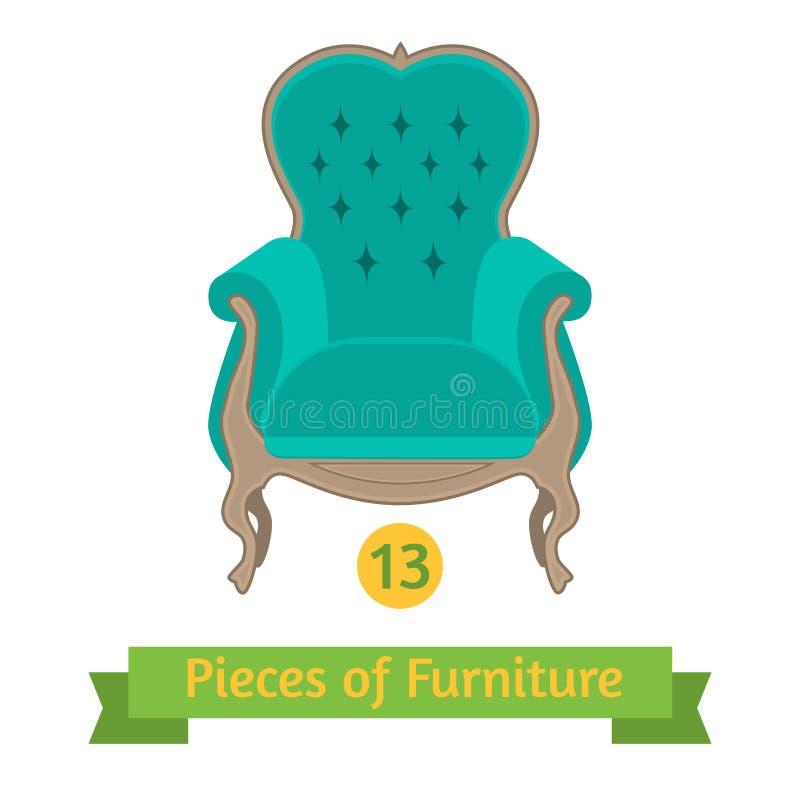 Mobília, cadeira antiga barroco, projeto liso ilustração do vetor