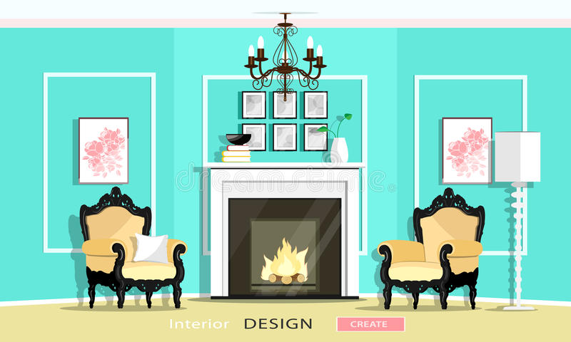A mobília clássica do estilo do vintage ajustou-se em uma sala de visitas: chaminé, poltronas, candelabro, lâmpada Estilo liso ilustração royalty free