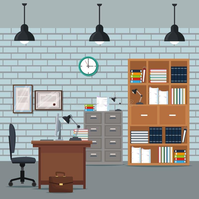 A mobília da poltrona da mesa do espaço de trabalho do escritório registra o tijolo da parede do pulso de disparo do diploma do a ilustração do vetor