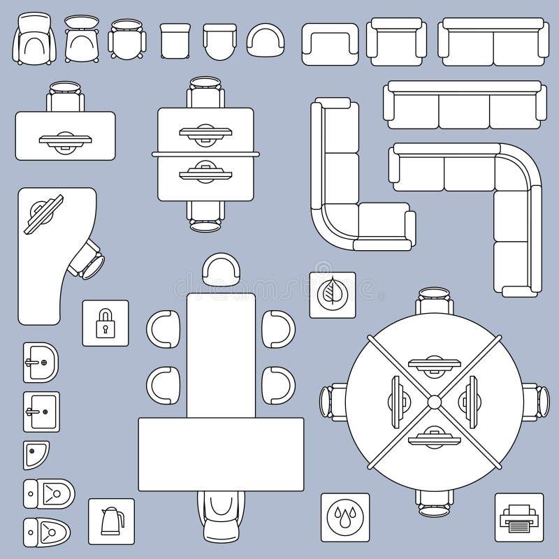 Mobília da reunião do escritório, linha ícones do vetor do plano da arquitetura ilustração royalty free