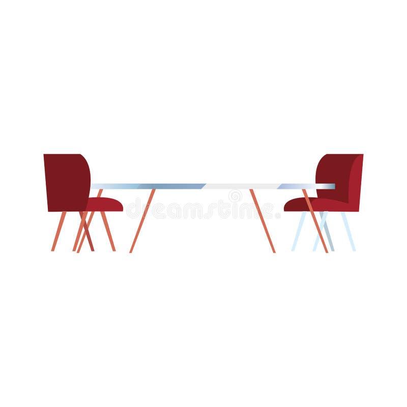 Mobília das cadeiras de tabela no fundo branco ilustração stock