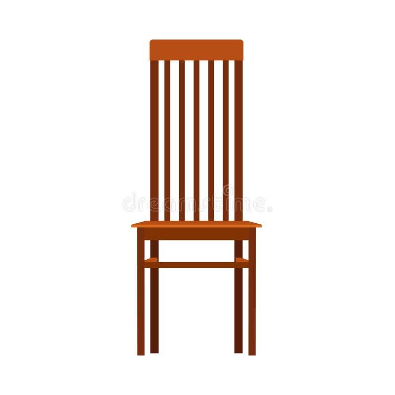 Mobília de madeira do ícone do vetor da opinião dianteira da cadeira O interior clássico senta-se Sala lisa do elemento marrom re ilustração royalty free