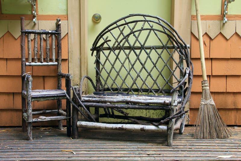 Mobília de madeira do patamar fotografia de stock