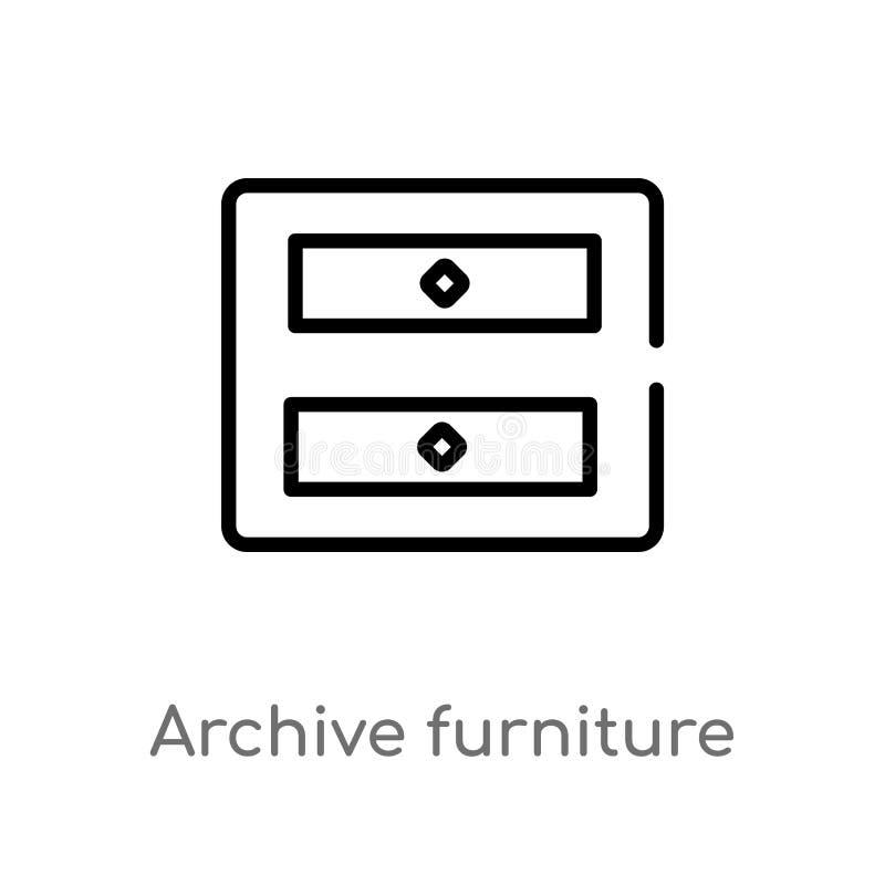 mobília do arquivo do esboço do ícone do vetor de duas gavetas linha simples preta isolada ilustração do elemento do conceito da  ilustração stock