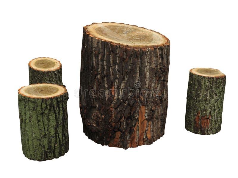 A mobília do jardim feita do registro de madeira isolou-se imagem de stock royalty free