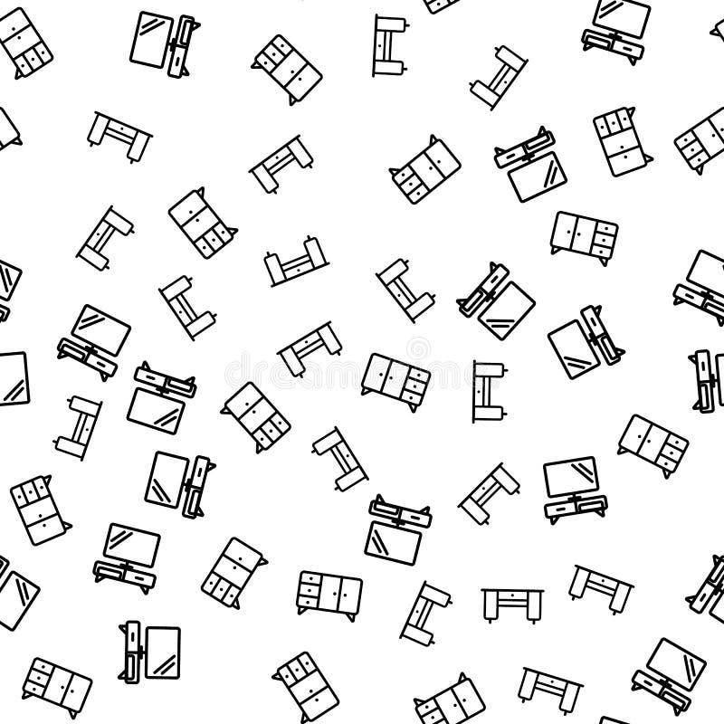 Mobília do vetor sem emenda do teste padrão do apartamento ilustração stock