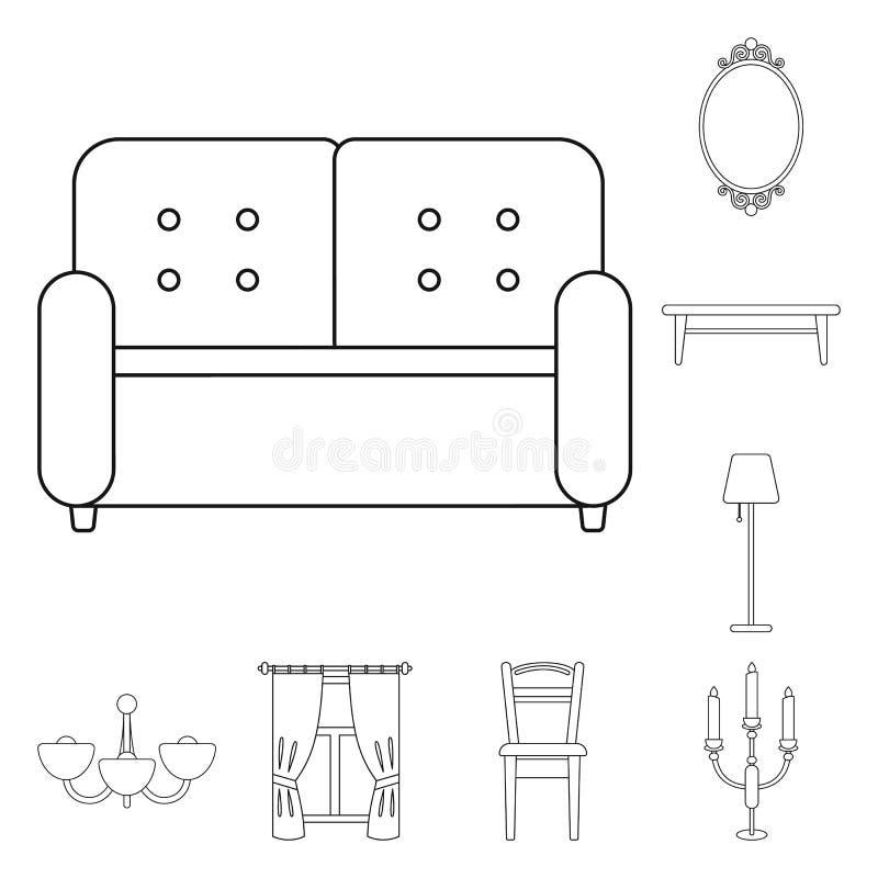 Mobília e ícones interiores do esboço na coleção do grupo para o projeto Ilustração home da Web do estoque do símbolo do vetor da ilustração royalty free