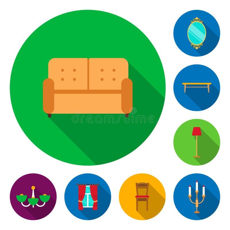 Mobília e ícones lisos interiores na coleção do grupo para o projeto Ilustração home da Web do estoque do símbolo do vetor da mob ilustração royalty free