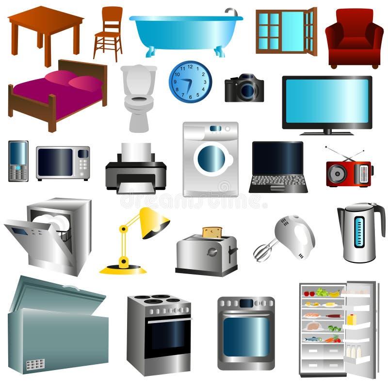Mobília e dispositivos ilustração stock