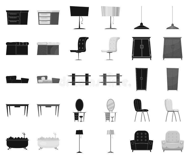 Mobília e preto interior, ícones monocromáticos em coleção ajustada para o projeto r ilustração stock