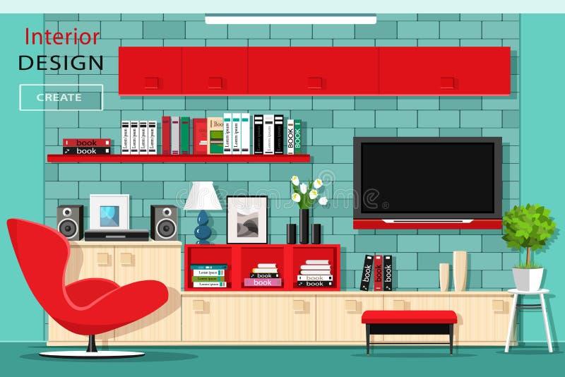 Mobília gráfica moderna da sala de visitas com parede da tevê Interior à moda da sala com armários vermelhos Estilo liso ilustração royalty free