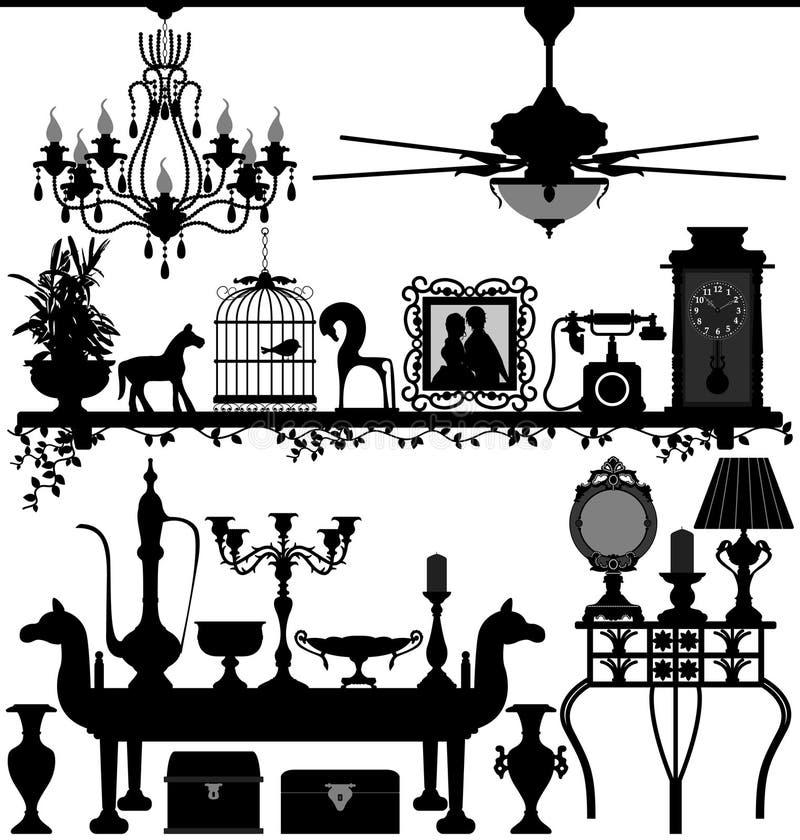Mobília Home antiga da decoração ilustração royalty free