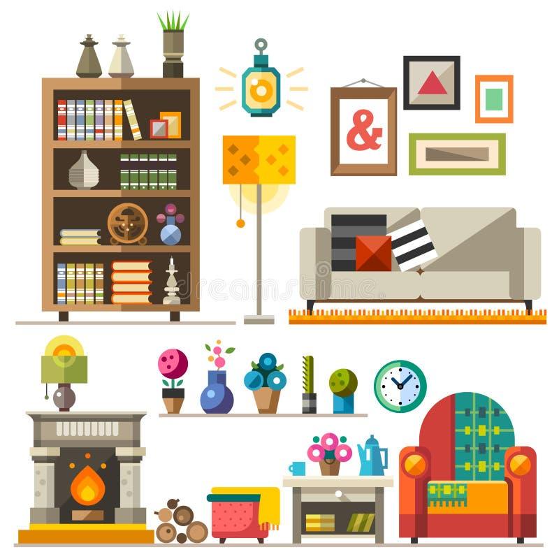 Mobília home Design de interiores ilustração do vetor