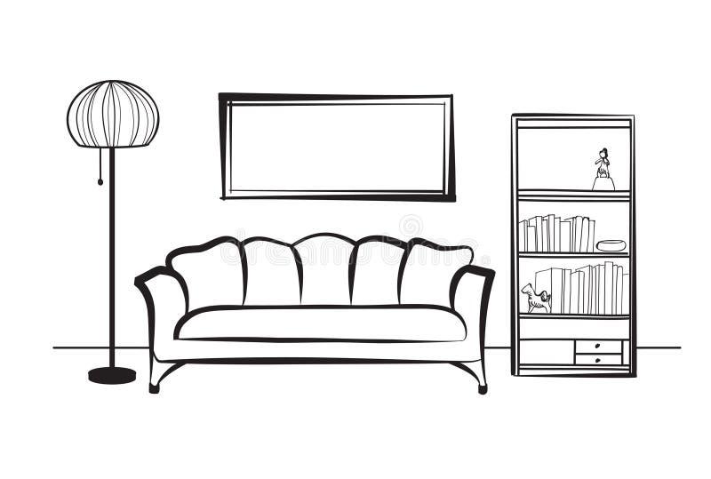 Mobília interior com sofá, lâmpada de assoalho, biblioteca, livros e ilustração royalty free