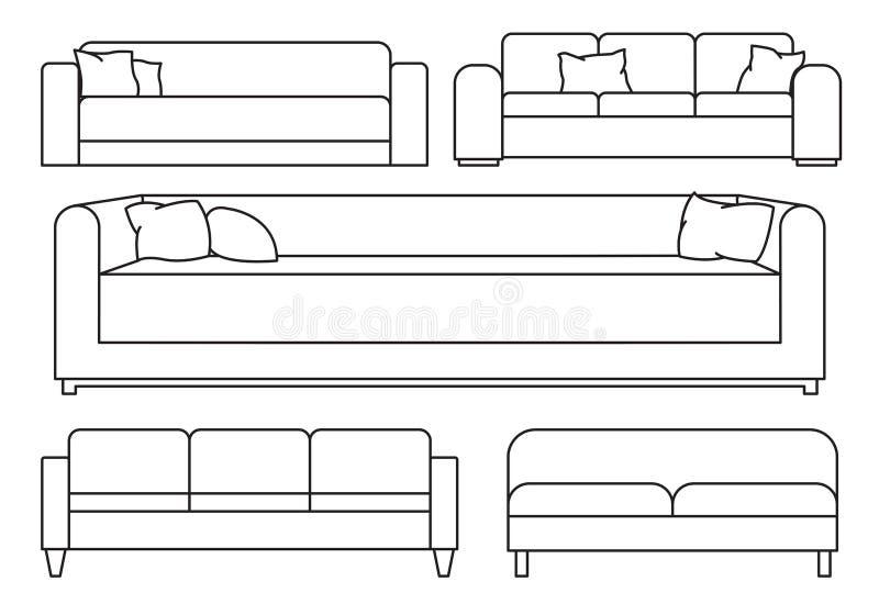 Mobília isolada grupo do esboço Ilustração do vetor em um estilo linear ilustração do vetor