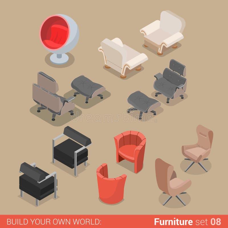 Mobília isométrica do vetor liso home da poltrona da cadeira da sala de visitas ilustração royalty free