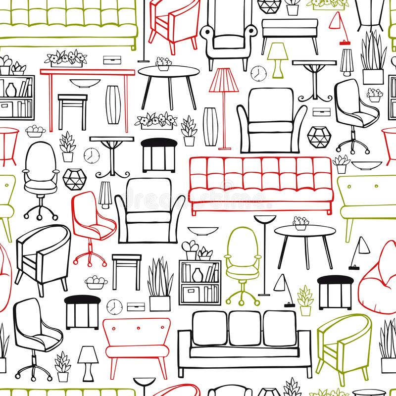 Mobília, lâmpadas e plantas para a casa ilustração royalty free