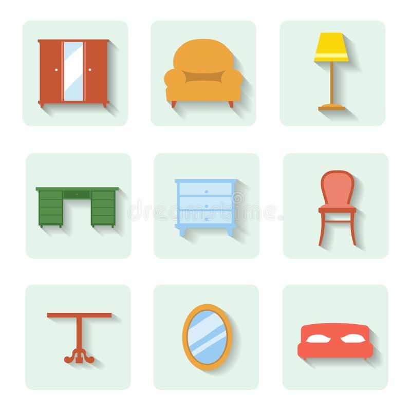Mobília lisa colorida dos ícones Grupo do vetor ilustração royalty free