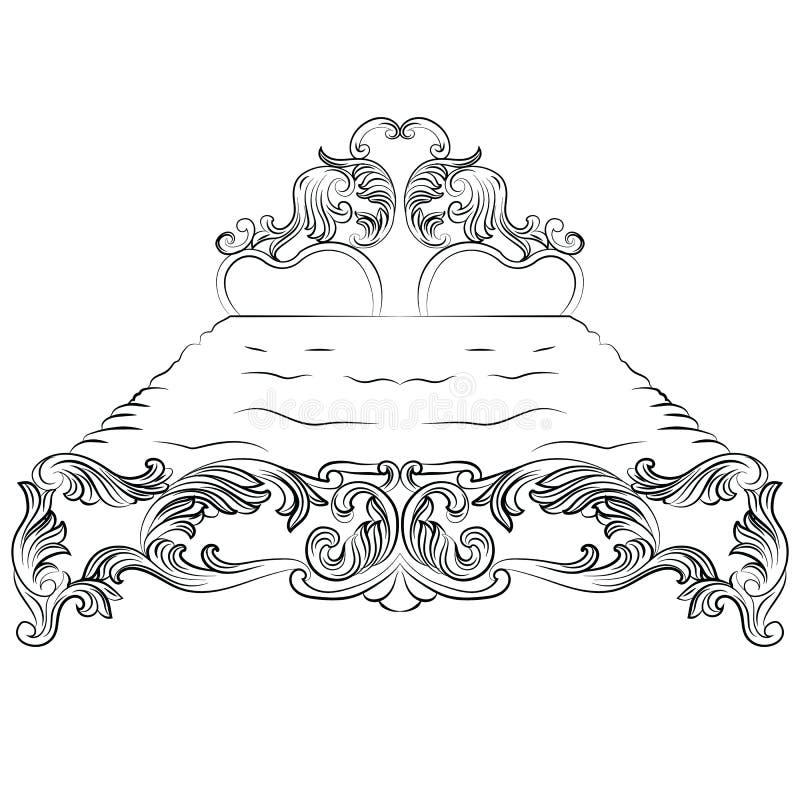 Mobília luxuosa barroco da cama do estilo ilustração do vetor