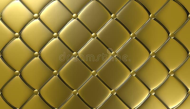 Mobília luxuosa do couro do ouro, papel de parede, ilustração ilustração royalty free