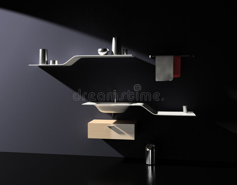 Mobília moderna do banheiro ilustração royalty free