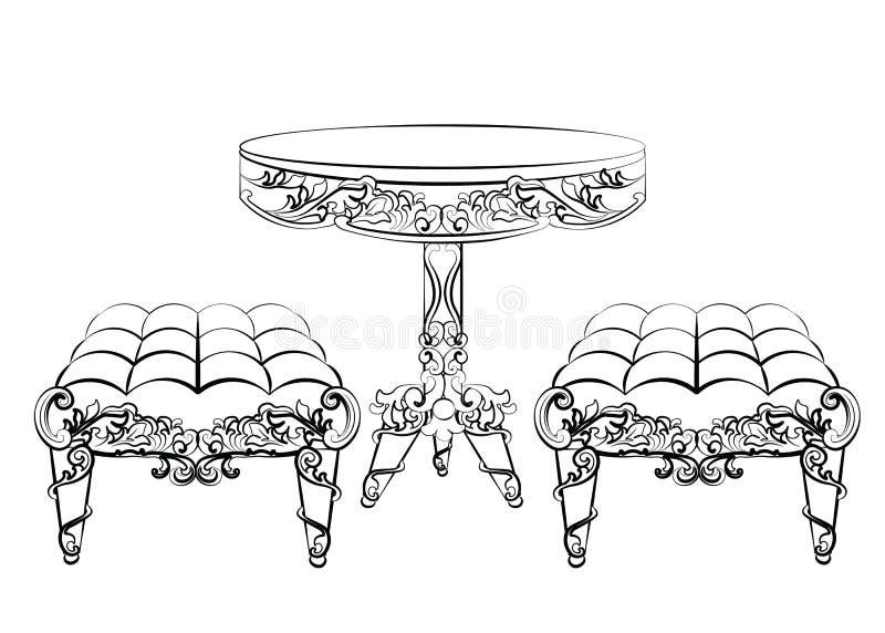 Mobília no ornamento clássico do estilo dos rococós ilustração do vetor