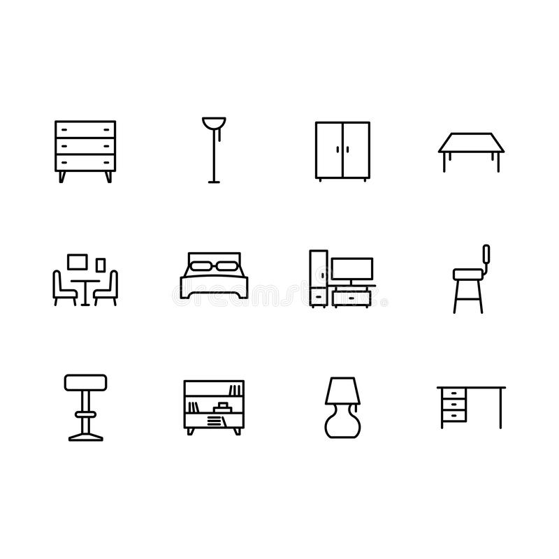 Mobília simples dos símbolos ajustados e linha interior ícone da sala Contém tal caixa de gavetas, vestuário do ícone, cadeira, t ilustração stock