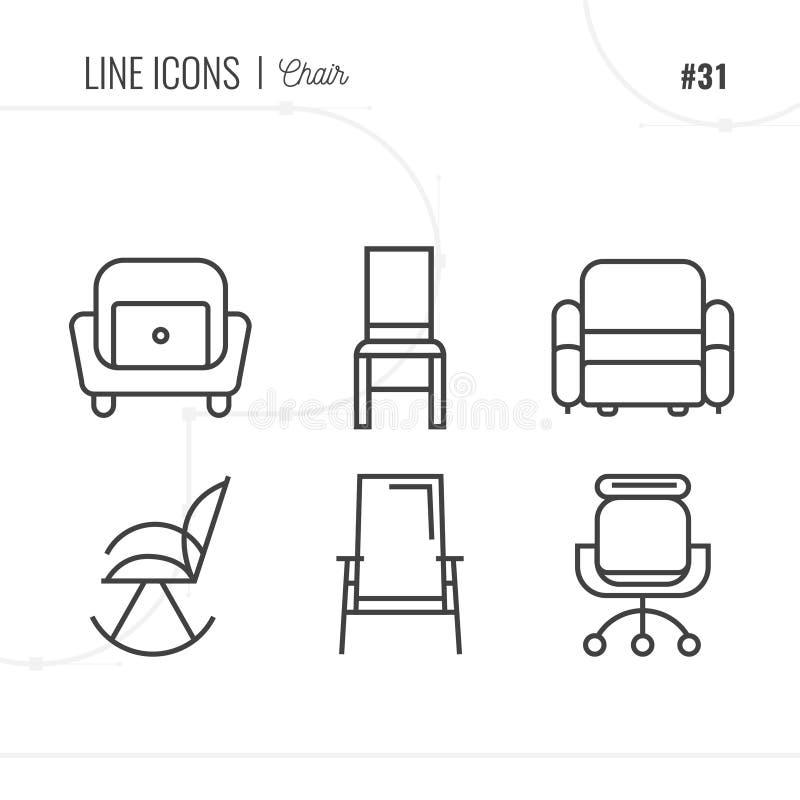 Mobília, sofá, tabela, cadeira, meio-fio e mais, linha fina colo ilustração royalty free