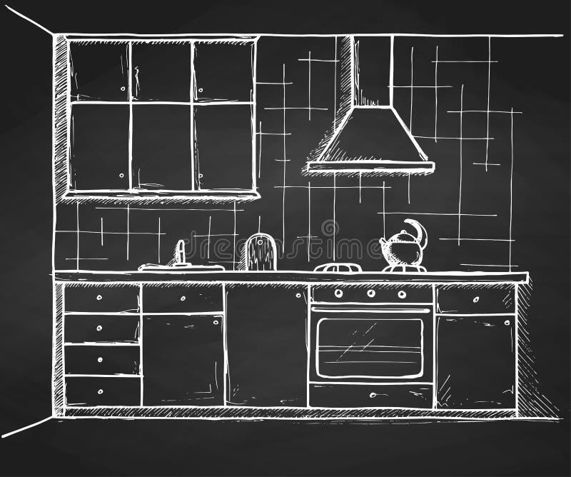 Mobília tirada mão da cozinha Ilustração do vetor no estilo do esboço ilustração stock