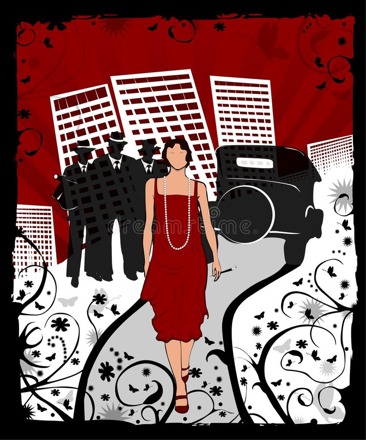 The Mob. Illustration of a 1920's scene. With a glamorous flapper, a retro car, three mobsters with 'tommy guns'. City scape in the the background. Floral grunge