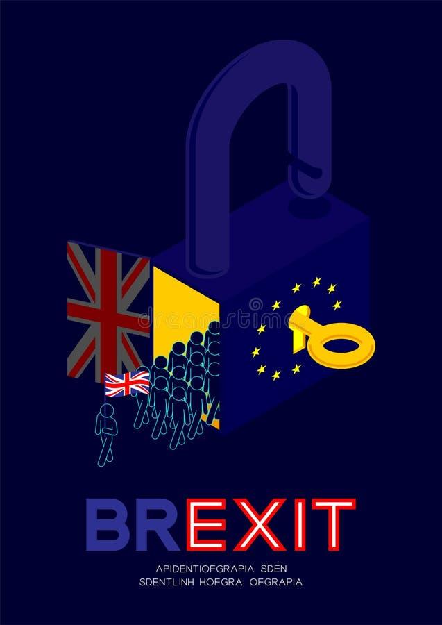 Mob of Man pictogram holding united kingdom flag exit from isometric lock with key unlock European Union EU flag, Brexit concept. Design illustration isolated stock illustration