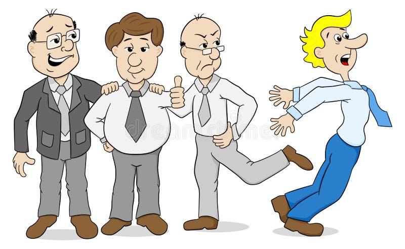 Mobba - kollegor som trakasserar andra stock illustrationer