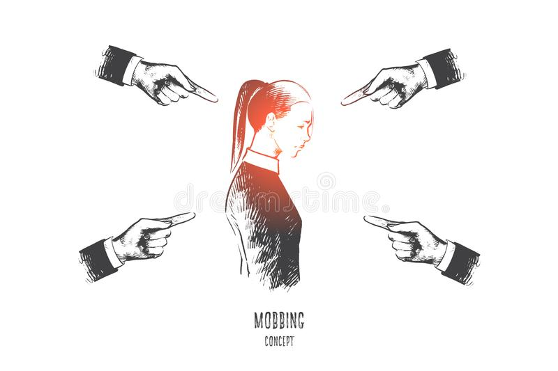 Mobbing concept. Hand drawn isolated vector. Mobbing concept. Hand drawn many hands pointing on woman. Person is suffering mobbing in workplace isolated vector vector illustration