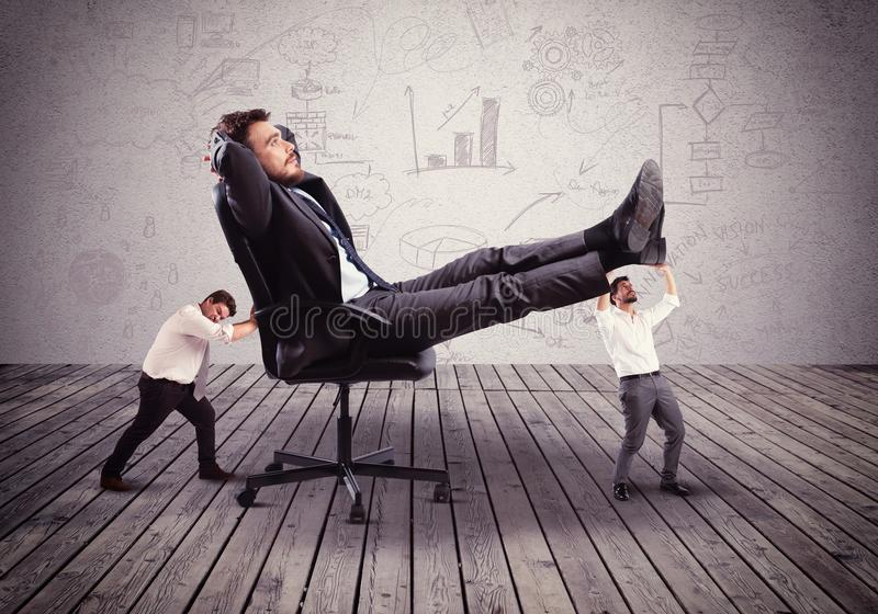 Mobbing concept. Supporting employees with fatigue the big boss stock images